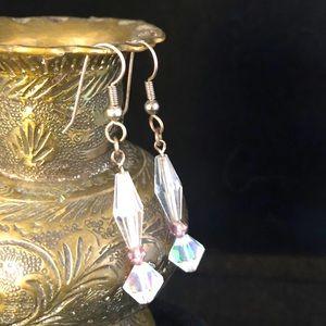 Clear Austrian Crystal Aurora Borealis Earrings